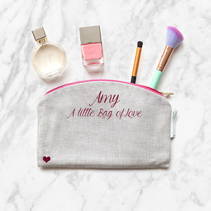 Personalised 'Little Bag Of Love ' Make Up Bag