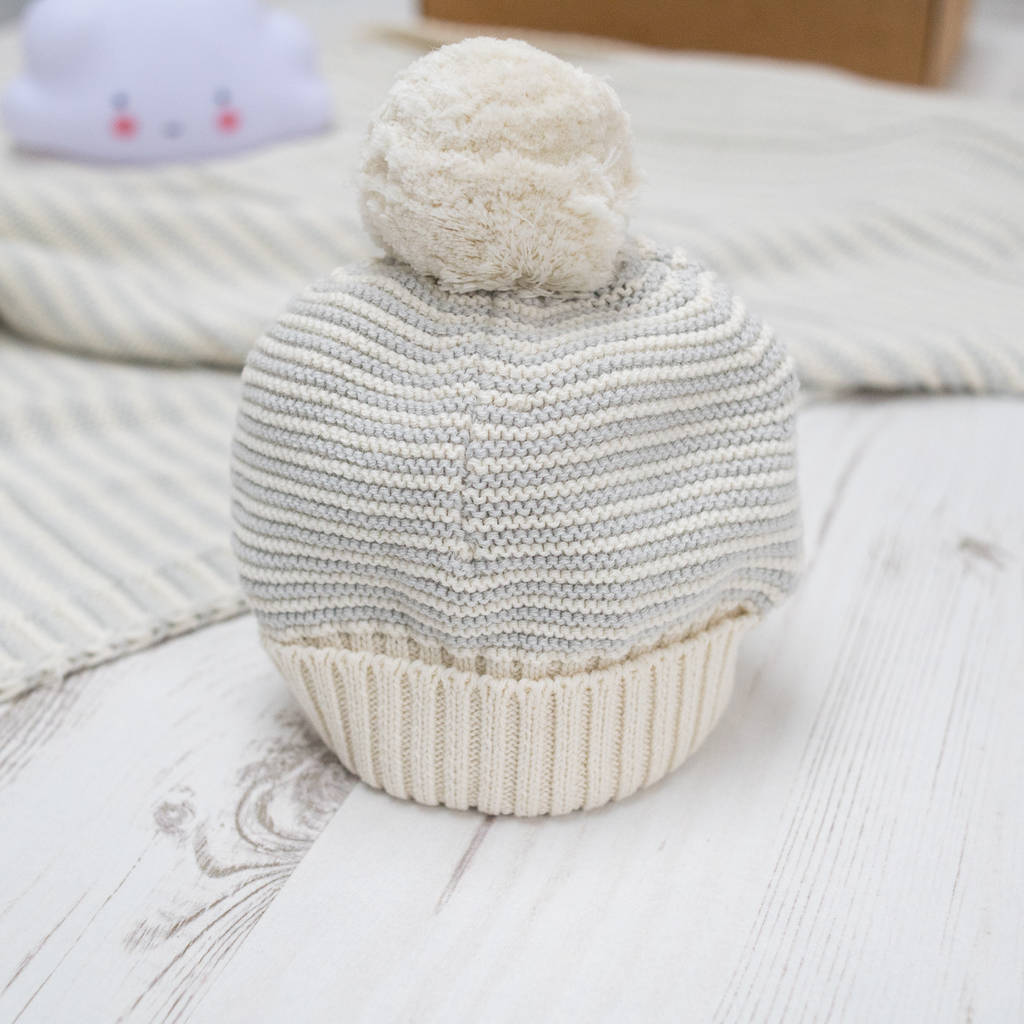 ... toffee moon notonthehighstreet  store eedb5 7129f Little Tulip Baby  Girl Gift Box  stable quality 7e8e3 badde Unisex Grey Dainty Stripe Bobble  Hat ... 0f7f8afd59c2