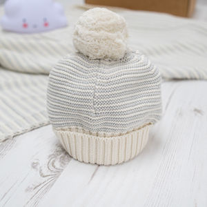 Unisex Grey Dainty Stripe Bobble Hat