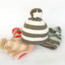 Baby bobble hat knitting kit in four colour combinations