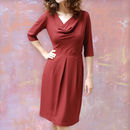 Elegant Day Dress In Russet Moss Crepe