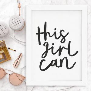 'This Girl Can' Typography Print - typography
