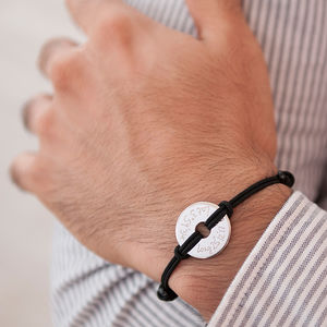 Personalised Coordinate Open Disc Bracelet - gifts for groomsmen