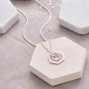 Double Hexagon Necklace