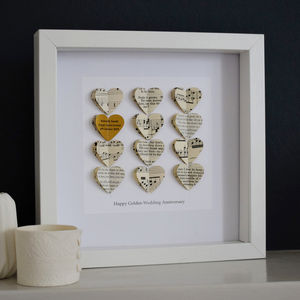 Personalised Golden Wedding Anniversary Heart Gift
