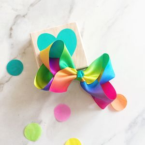 Rainbow Satin Hair Bow - new in baby & child