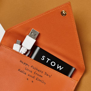 Personalised Leather Travel Wallet With Phone Charger - wedding thank you gifts