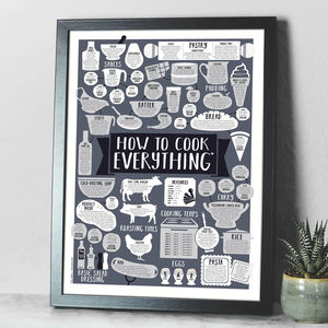 How To Cook Everything A2 Kitchen Print - for him