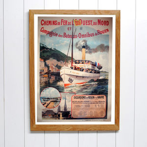 Original Belle Epoque Rouen Le Harve Travel Poster