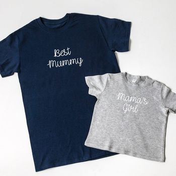 Personalised Embroidered Mother's Day T Shirt Set