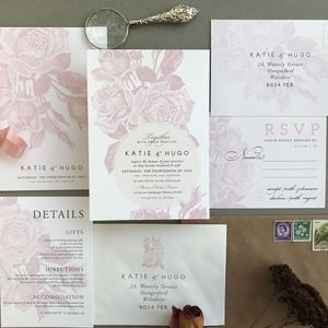Etched Rose Wedding Invitation Set