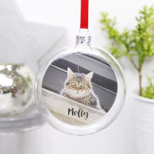 Personalised Pet Photo Flat Glass Bauble - best of baubles