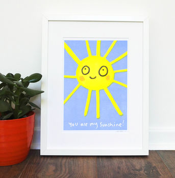 Sunshine Nursery Print Yellow Blue Children's Art