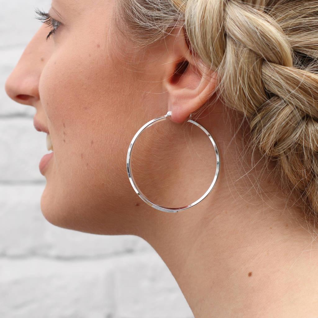 Sterling Silver Large Square Edge Hoop Earrings