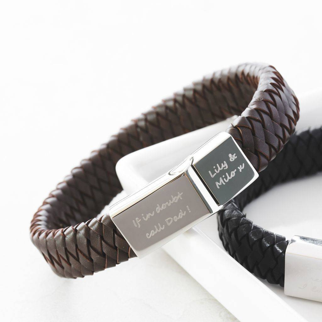 Men S Engraved Message Bracelet
