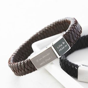Men's Engraved Message Bracelet - 30th birthday gifts
