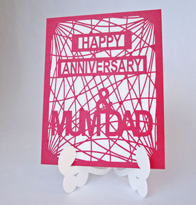 Personalised Stand Up Easel Die Cut Anniversary Card - wedding cards