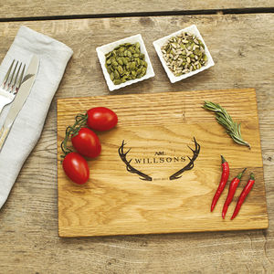 Antlers Personalised Oak Wood Chopping Board