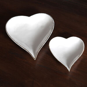 Off White Heart Trinket Dish With Gold Edging