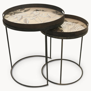 Brookby Antiqued Mirror Set Of Two Tray Tables