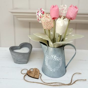 Handmade Cotton Tulips In 10th Anniversary Tin Jug