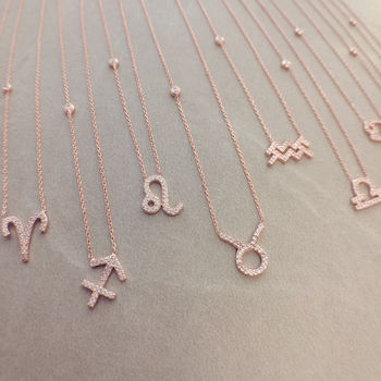 22ct Rosegold Zodiac Necklace 12 Star Signs Available