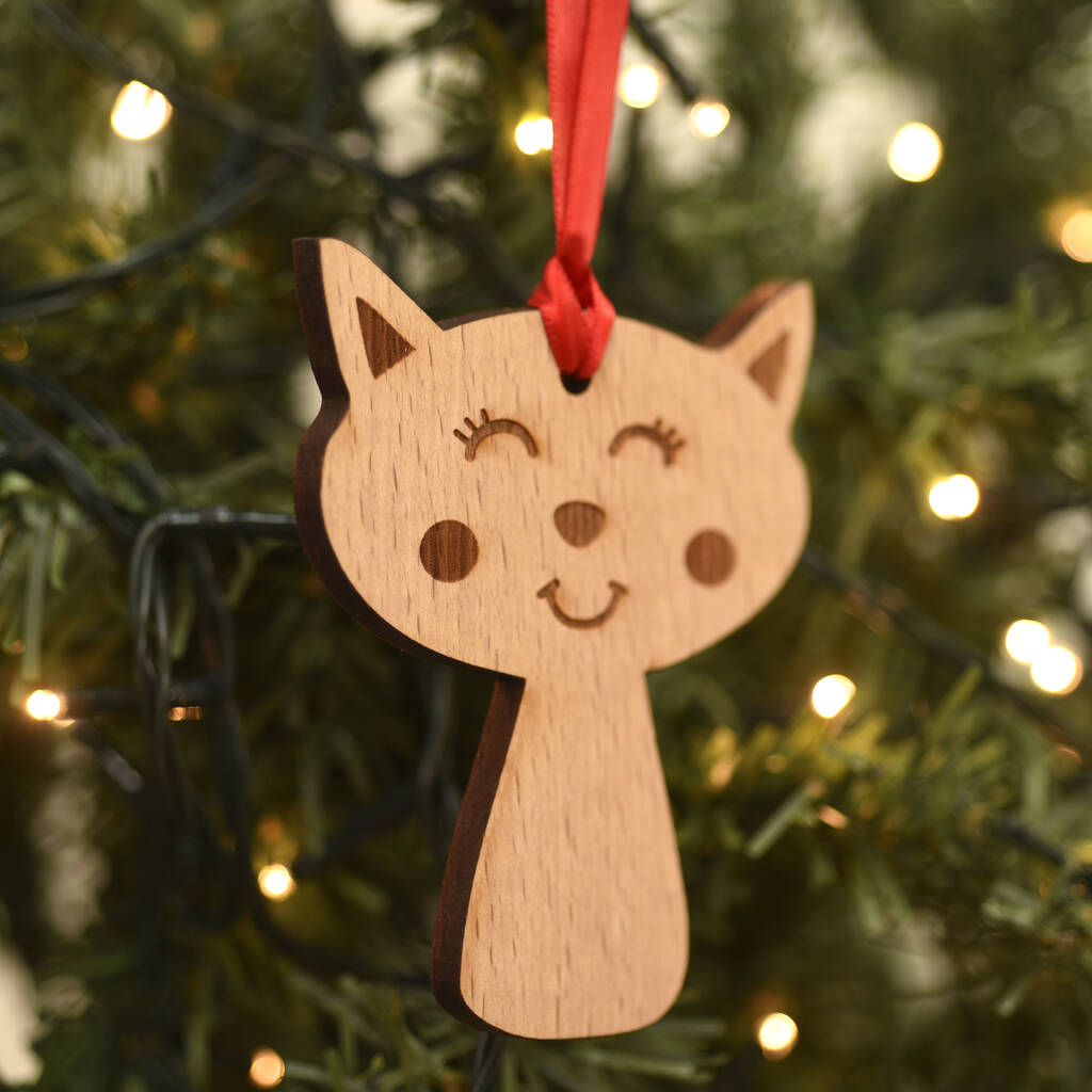 Cat Wooden Christmas Tree Pet Decoration By Hoobynoo ...