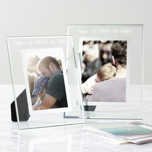 Personalised First Father's Day Glass Edged Photo Frame - first father's day