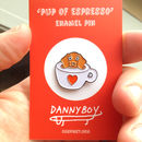 Pup Of Espresso Soft Enamel Pin Badge