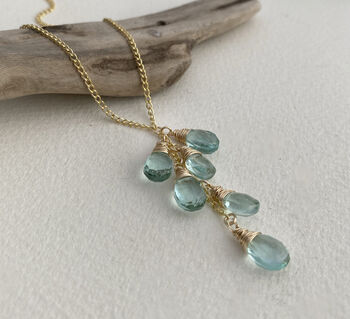 Aquamarine Quartz Lariat Necklace