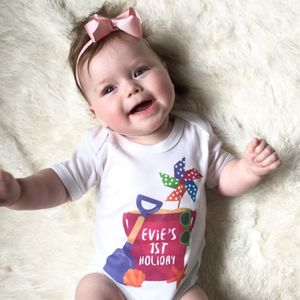 Personalised Bucket And Spade Holiday Baby Grow - baby shower gifts