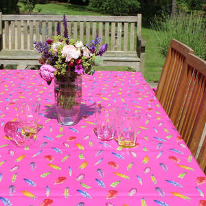 Pink Feathers Tablecloth - kitchen