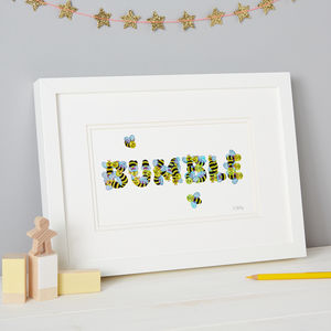 'Bumble' Kids Bee Sticker Typography Print - children's pictures & paintings