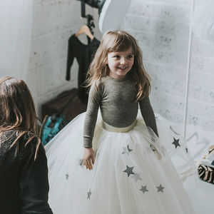 Cream Moon And Stars Tutu Full Length
