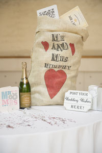 Personalised Hessian Wedding Card Sack Modern Heart - wedding post boxes