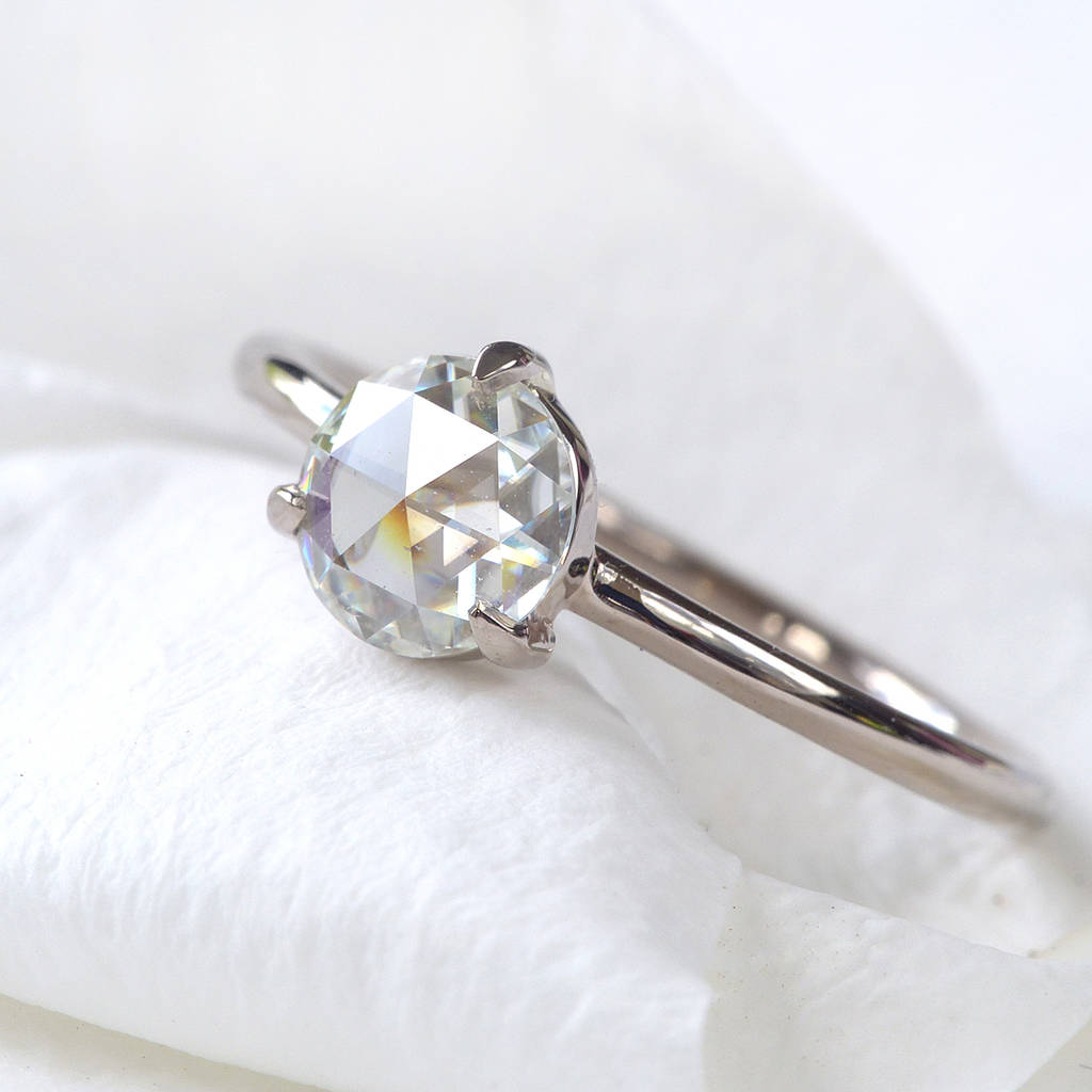 Rose Cut Moissanite Ring, 18ct Gold Or Platinum  Rings