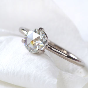 Rose Cut Moissanite Ring, 18ct Gold Or Platinum - rings
