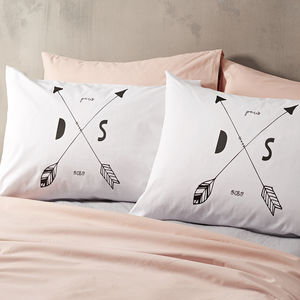 Personalised 'Arrow Initials' Pillow Case - bedroom