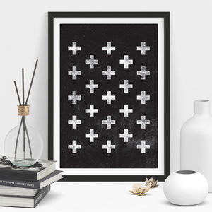 Scandinavian Swiss Cross Geometric Print