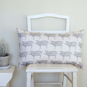 Large Rectangle Grey Pig Cushion