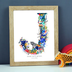 Personalised J To S Wildlife Alphabet Letter Print - posters & prints