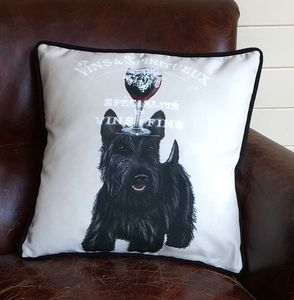 Scottish Terrier Cushion, Dog Au Vin Wine Gift - cushions
