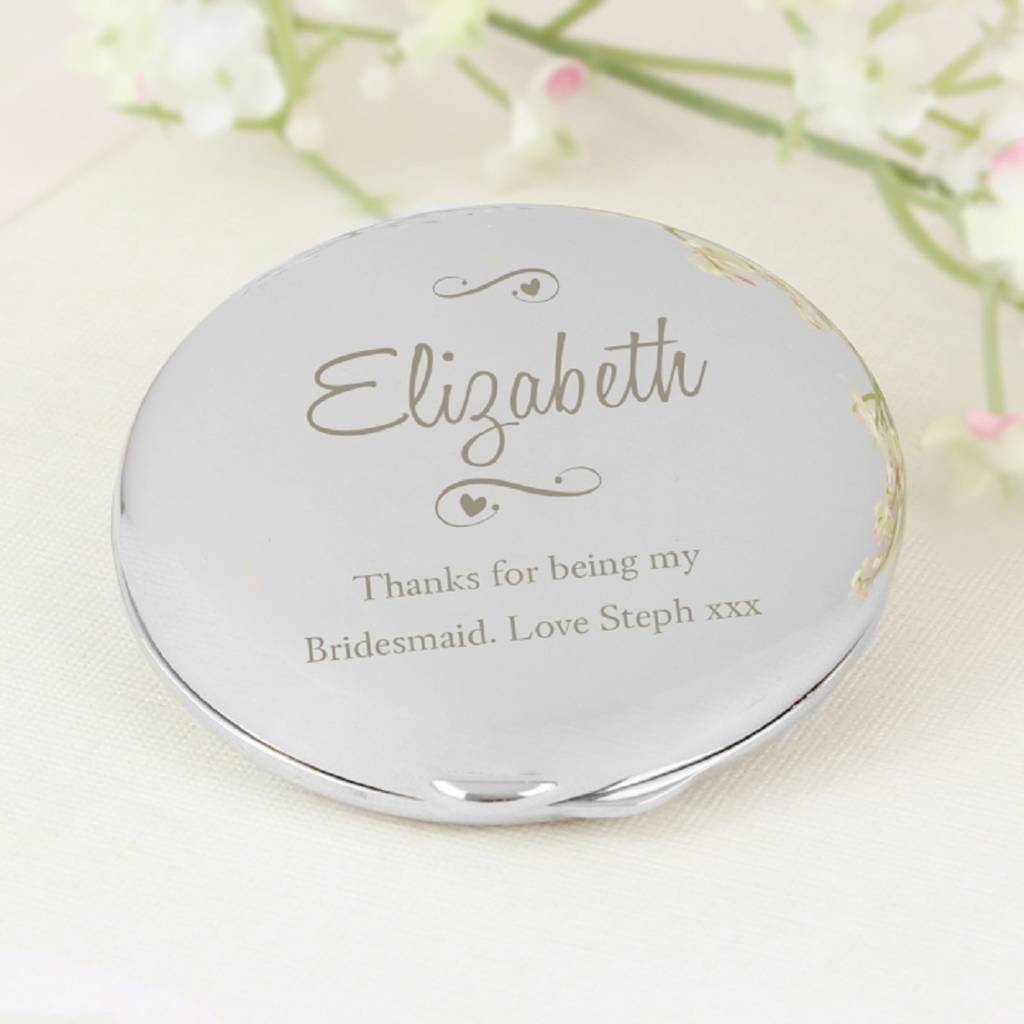 Decorative Personalised Engraved Compact Mirror