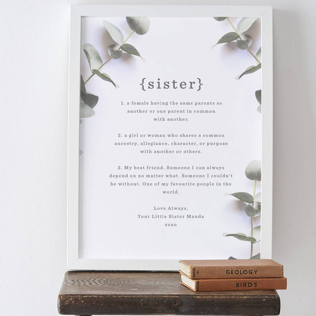 Personalised Sister Definition Print