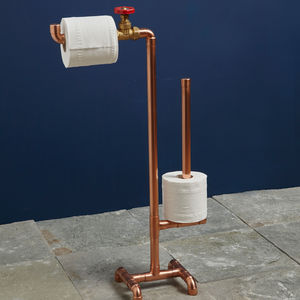 Industrial Copper Pipe Toilet Roll Stand - toilet roll holders