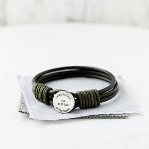 Personalised Silver And Leather Best Dad Bracelet - bracelets