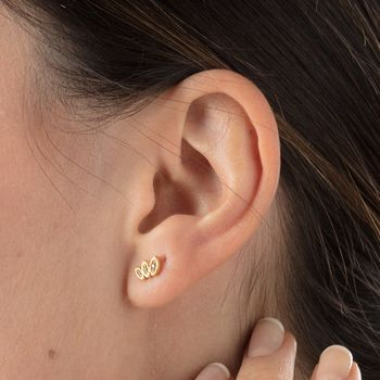 Gold Sparkling Three Petal Stud Earrings by Scream Pretty