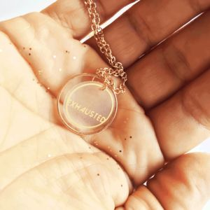 Exhausted Mini Gold Hoop Necklace