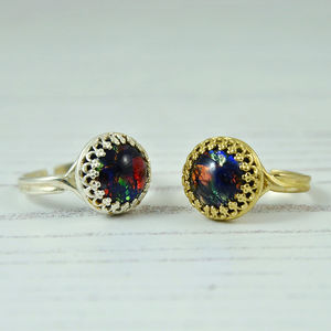 Black Opal Ring Gold Or Silver - rings