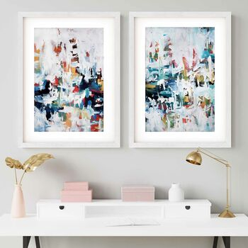 Modern Abstract Art Blue Framed Art Prints Set Of Two